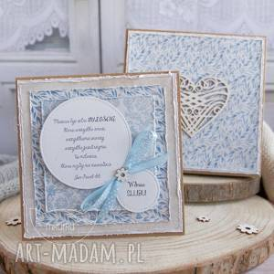 ręcznie wykonane scrapbooking kartki wyjątkowa pamiątka ślubna dla młodej pary. Kartka w ozdobnym