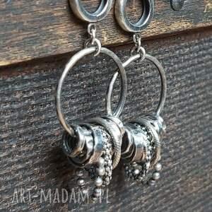 kolczyki srebrne, oksydowane, na prezent, koła