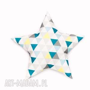 pokoik dziecka poduszka gwiazdka - trójkąty niebieskie, poduszka, gwiazdka, star
