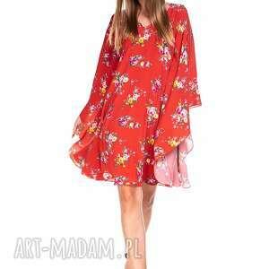 sukienki sukienka roza, wiskozowa, kwiaty, kolorowa, letnia, zwiewna, luźna