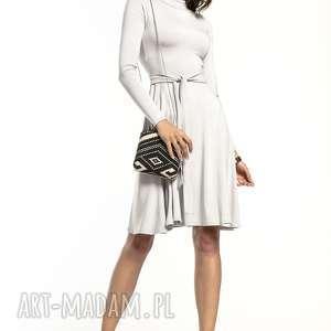 zwiewna sukienka z delikatnej w dotyku wiskozy golfikiem, t289, jasnoszary