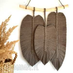 duże pióra, piórko, pioro, makrama, liście, na ścianę
