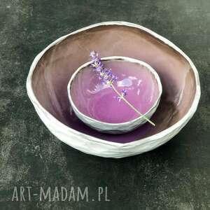 ręcznie zrobione ceramika komplet misek violet