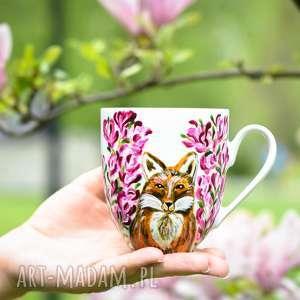 ręcznie wykonane kubki kubek lis w magnoliach