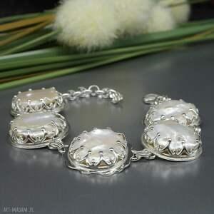 perła słonowodna, bransoletka gwendelin, srebrna, naturalna