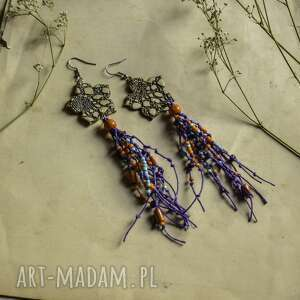 lniane kolczyki w kontastowych kolorach, kolczyki, wiszące biżuteria
