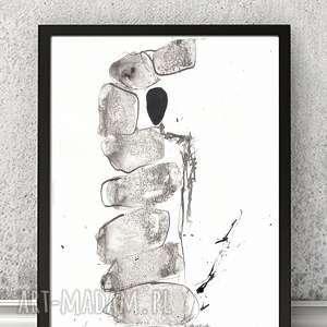 nowoczesny obraz 21x30 A4 rysunek tuszem Nature of stones /7/, obrazy-nowoczesne