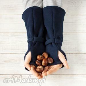 mitenki - granatowe - mitenki, ciepłe, minimal, granat, unisex, monochromatyzm
