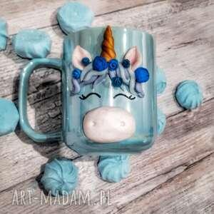 kubki kubek jednorożec, ceramiczny, niebieski holograficzny