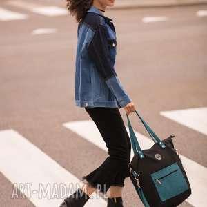 pracownia mana czarna torba damska na ramię z kieszonką, damska, do
