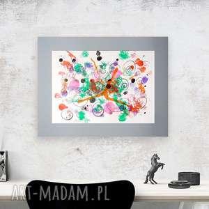 Abstrakcyjna grafika do pokoju, nowoczesny obraz malowany