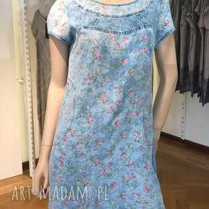 abi sukienka z tencelu kwiatki roz 42, jeansowa, tencel