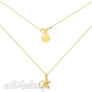 złoty naszyjnik z jaszczurką - złote naszyjniki, pozłacany