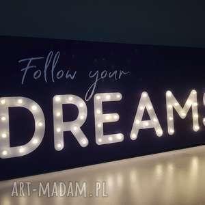 obraz led z cytatem follow your dreams neon napis litery pokój chłopca przent