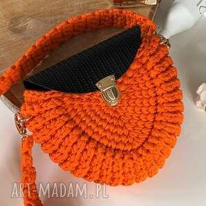 na ramię szydełkowa torebka damska listonoszka kolor mandarynka