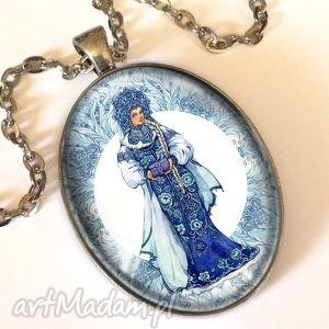 folk - owalny medalion z łańcuszkiem - naszyjnik folkowy, ludowy