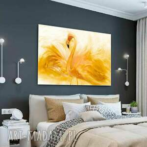 renata bulkszas obraz do sypialni flaming akwarela złoty 90 x 60