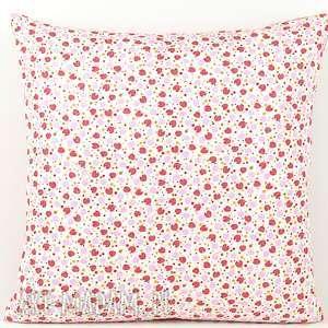 poszewka na poduszkę 45x45cm - truskawki i groszki - poduszka, dekoracja, prezent