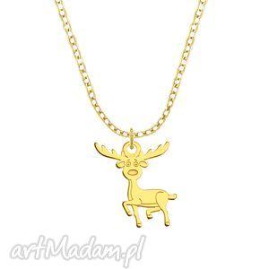 celebrate - reindeer - necklace g lavoga - święta, pozłacane