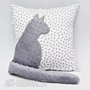 poduszki poduszka z kotem i ogonem, kotek 3d szary kot, w gwiazdy