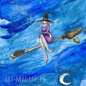 nuda taki długi lot akwarela artystki adriany laube - obraz, wiedźma, kot, halloween