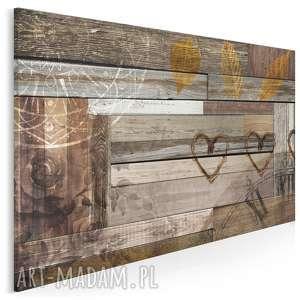 Obraz na płótnie - SERCA DREWNO 120x80 cm (51901), drewno, deski, serca, liście