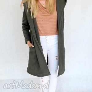 l - xl płaszcz z kapturem khaki - wiosna, bawełna, dzianina, eko