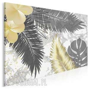 Obraz na płótnie - liście złoty art-deco 120x80 cm 89403 vaku