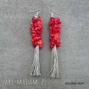 len z koralem czerwonym - długie kolczyki, koral, wiszące, długie, naturalne