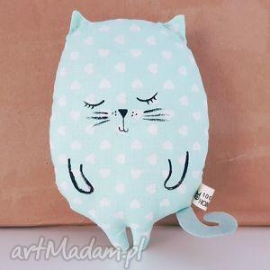 kotek przytulaczek miętowy w białe serduszka - ,kot,kotek,zabawka,maskotka,cat,miętowy,