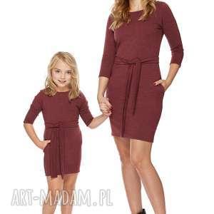 Mama i córka Sukienka dla córki LD6/3, sukienka, dresowa, zpaskiem, kieszenie