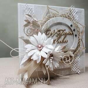 Krem i biel - kartka w pudełku, ślub, gratulacje, życzenia