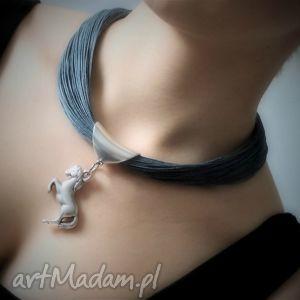 ręcznie wykonane naszyjniki naszyjnik lniany - horse