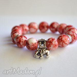 bracelet by sis słoń w mozaikowych koralach, słoń, korale, czerwony, mozaika, nowość