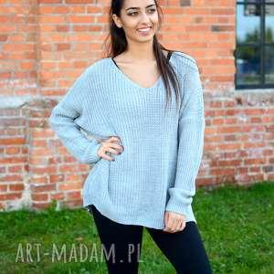handmade pomysł na prezent święta damski sweter oversize, jesienny, luźny, szeroki, koralowy róż