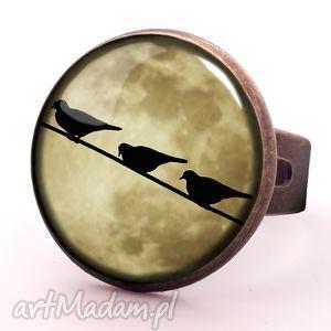 egginegg księżycowe ptaszki - pierścionek regulowany, prezent