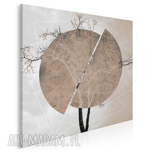 obraz na płótnie - drzewo koło brąz beż w kwadracie 80x80 cm 41104