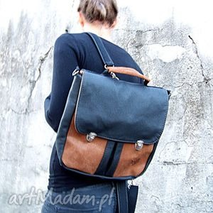 ręcznie zrobione plecak / torba czarno-brązowa