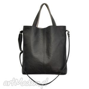 handmade na ramię 16-0030 czarna duża torebka damska z paskiem na ramię jay