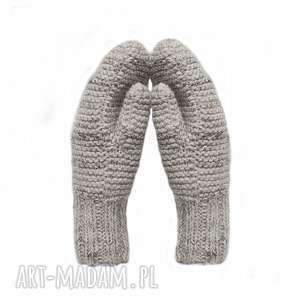 Dwuwarstwowe jasno beżowe - melanż, rękawiczki, mitenki, dziergane, wełniane,