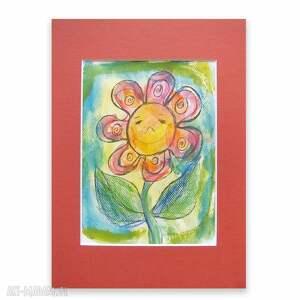 Kwiatuszek rysunek, kolorowy obrazek dla dziewczynki,ładny do dziecięcego