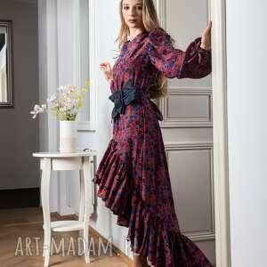 jedwabna sukienka z asymetryczną falbaną barcelona, w kwiat