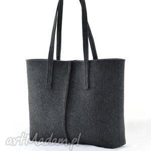 ręczne wykonanie na ramię duża grafitowa torebka z filcu- minimalistyczna- niska