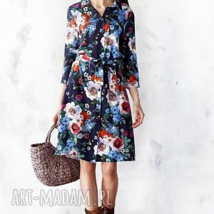 szmizjerka w malowane kwiaty, sukienka, midi, wiskoza, ponadczasowa, kwiaty