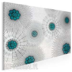 obraz na płótnie - kwiaty promienie turkus 120x80 cm 54402