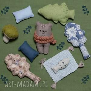 lalki zestaw leśne zwierzątka-niedźwiedź jaskiniowy, niedźwiedź lniany, miś