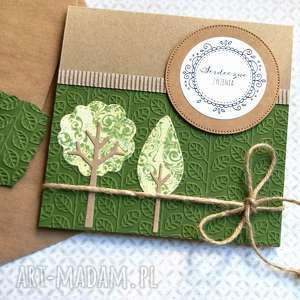 serdeczne życzenia :: DRZEWKA kartka handmade, imieniny, urodziny, ślub