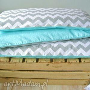 Ochraniacz do łóżeczka turkusowo-szary, ochraniacz, pościel, łóżeczko, turkus, zygzak