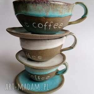komplet pt kawa to zawsze dobry pomysł, ceramika rękodzieło, filiżanki