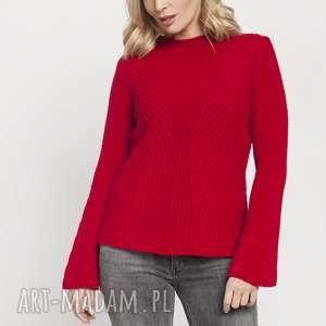 swetry sweter z delikatną stójką, swe175 czerwony mkm, sweter, jesień, czewrony